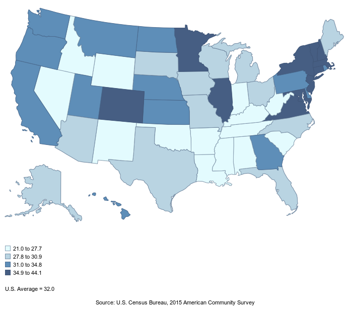 HigherEdInfoorg ACS Educational Attainment By DegreeLevel And - Us map by college attainment